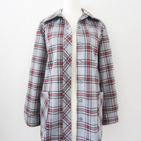 80s Tartan Plaid Grey Oversized Blazer by Montgomery Ward, S-M // Vintage Ice Grey Thin Light Jacket