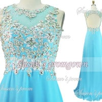 2014 Blue Prom Dress,Straps Lace Beads Backless Chiffon Long Dresses, Prom Dress,Evening Dress,Wedding Dress,Formal Dress,Evening Gowns