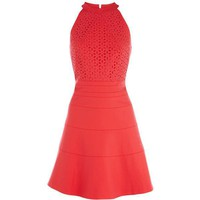 Bqueen Fit & Flare Halter Dress Red K244R UFE