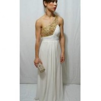 Ivory and Gold Sequined Grecian Gown