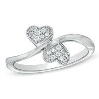 1/10 CT. T.W. Diamond Double Heart Promise Ring in Sterling Silver - View All Rings - Zales