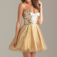 Sequined Sweetheart Tulle Dress of Night Moves by Allure