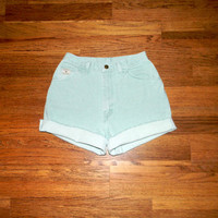 Custom Denim Cut Offs - 90s High Waisted Light Wash Mint Green Jean Shorts - Cut Off/Frayed/Distressed/High Waist Wrangler Shorts Size 7/8