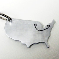 United States Metal Long Distance Couples Heartfelt Gift Cutout Keychain