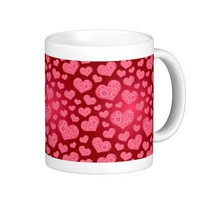Vintage Elegant Red Rose Pattern Coffee Mug