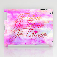 JE T'AIME French Typography Font I Love You Romantic Fine Art Pastel Pink Colorful Abstract Painting iPad Case by EbiEmporium