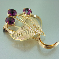 Vintage Purple Crystal Filigree Brooch, Gold Tone.