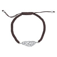 Silver Plated Pave Crystal Feather Wrap Bracelet - Brown