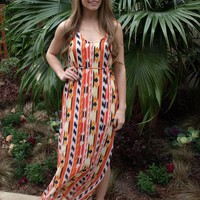 Yellow and Orange Aztec Print Maxi Dress
