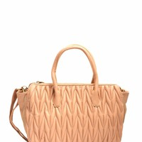Chevron Quilted Faux Leather Handbag