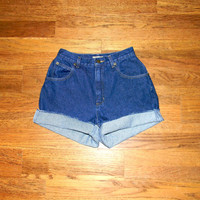 Vintage Denim Cut Offs - 90s Dark Wash Blue Jean Shorts - High Waisted Cut Off/Rolled Up Short Shorts by Liz Claiborne - Size 5/6