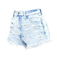 LIGHT DENIM HIGH WAIST DESTRUCTED SHORT