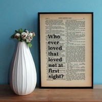 Love At First Sight Typographic Art On Vintage Shakespeare Book Page | Luulla