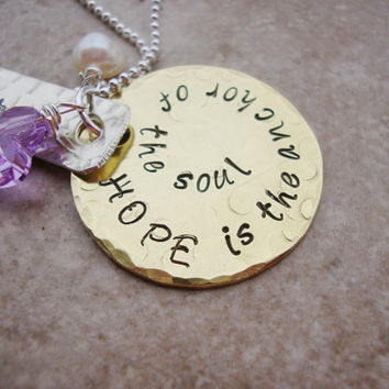 Hope is the anchor hand stamped brass necklace with freshwater pearl and purple heart crystal