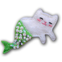 Meowmaid Mermaid Kitty Felt Brooch