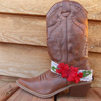 White Lace Boot Bracelet - Red Flowers and Rhinestones - Cowboy Boots - Accessories