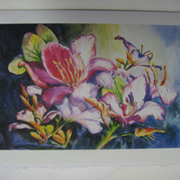 Florida Orchid 5 x 7 Note Card watercolor by watercolorsNmore