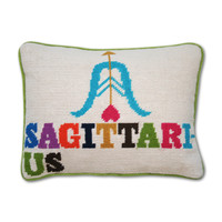 Jonathan Adler Sagittarius Zodiac Needlepoint Throw Pillow