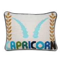 Jonathan Adler Capricorn Zodiac Needlepoint Throw Pillow