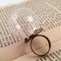 1 ~ Clear Globe Glass Bottle Ring DIY Antique Bronze Ring Base Terrarium Bottle Ring Apothecary Bottle Anitique Style Jewelry Supplies