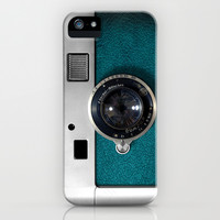 Classic retro Blue Teal silver Leather Germany vintage camera apple iPhone 4 4s, 5 5s 5c, iPod & samsung galaxy s4 case