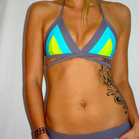 The Laura REVERSIBLE Neon BIKINI Swimsuit TOP by IMSYSwimwear on Etsy