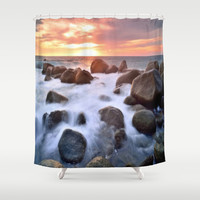 Rocky Shore Seascape Sunset Shower Curtain by DaddyDan