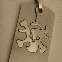 Mens Stainless Steel Pirate Dog Tag Necklace | asterling - Jewelry on ArtFire