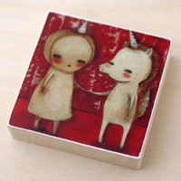 Handmade Gifts | Independent Design | Vintage Goods My Animal Friends Wood Print - Unicorn