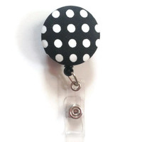 Fabric Covered Retractable Badge Reel Black and White Polka Dot Keychain Lanyard