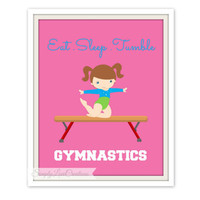 Gymnastics Print // Nursery Wall Art // Girls Room Decor // Gymnastic Nursery // Personalized Name Print // Eat.Sleep.Tumble