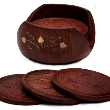 A Beautiful Wooden Drink Coaster Holder Set with 6 Round, Unique, Natural Brown Decorative Table Coasters [Appx. Coaster Size: 8 Cm Diameter] and a Cool, Stylish Wood Coaster Holder Handmade in Indian Rosewood - Best for Tea Cups and Coffee Mugs for Person