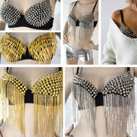 Rockstar GaGa Celeb Studded Bra Spiked Dangle Belly Dance Hipster Silver Gold US