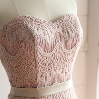 Vintage Dusty Pink/Blush Pink Eyelet Lace Wedding Dress/Bridesmaid Dress/Prom Dress with Sash