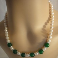 Charming Bridal Genuine Green Jade White Pearls Necklace | asterling - Jewelry on ArtFire