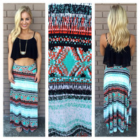 Black & Aqua X Factor Maxi Skirt