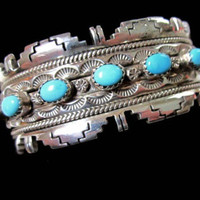 Gorgeous Unisex for Men or Women Turquoise signed by sobejeweled