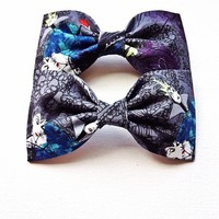 Villain vintage print handmade fabric hair bow or bow tie from Bowlicious Divas Bowtique