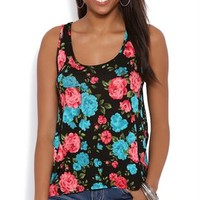 Floral Print High Low Tank with Lace Racerback