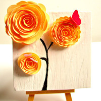 Spring Flowers Creamsicle Paper Rosette Mixed Media by BendixenArt