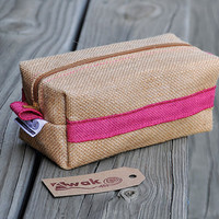 Rustic Burlap Toiletry Bag, Make up Cosmetic Bag or Pencil Case - Natural and Pink Purple Jute Box Bag - Wedding Gift Bag - AWAK