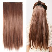 "SODIAL(TM) Fashionable 23"" Light Brown Straight Full Head Clip In Hair Extensions Perm Wash"