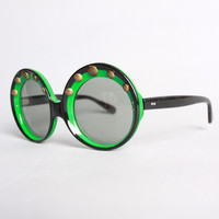 60s Round Green & Black SUNGLASSES / MOD Oversized Studded Sunnies