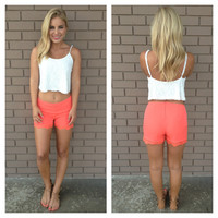 Coral Lace Trim Shorts
