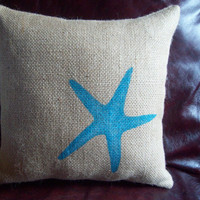 Burlap Starfish Decorative Pillow / Beach by NorthCountryComforts
