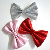 Set of three hair bows,red,pink, silver bows