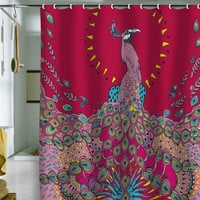 DENY Designs Home Accessories | Geronimo Studio Red Peacock Shower Curtain