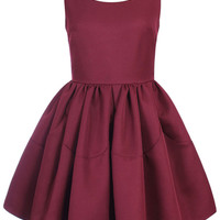 ROMWE Pleated Sleeveless Puff Sheer Dark-red Dress