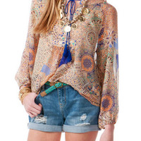 JUN & IVY PRINTED PEASANT TOP