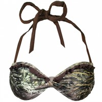 Realtree Max-1 Camo Ruffle Side Slide Swimsuit Top | Free Shipping $75
